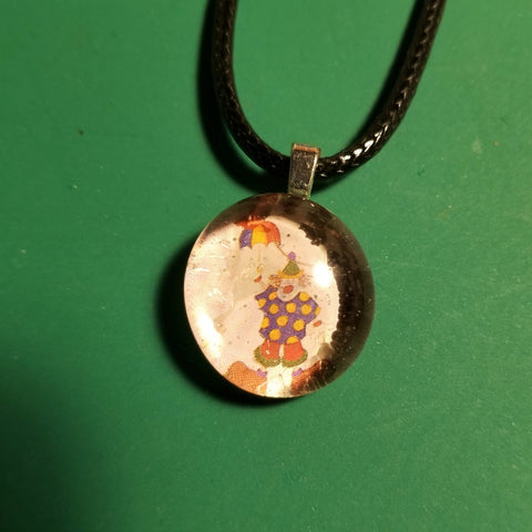 Clown Rainbow Handmade Good Flat Back Glass Marble Necklace 💋