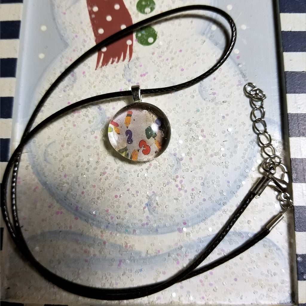 Colorful Numbers Handmade Good Flat Back Glass Marble Necklace 💋