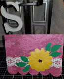 Daisy Background Scalloped Handmade Good Greeting Supply Card CLEARANCE