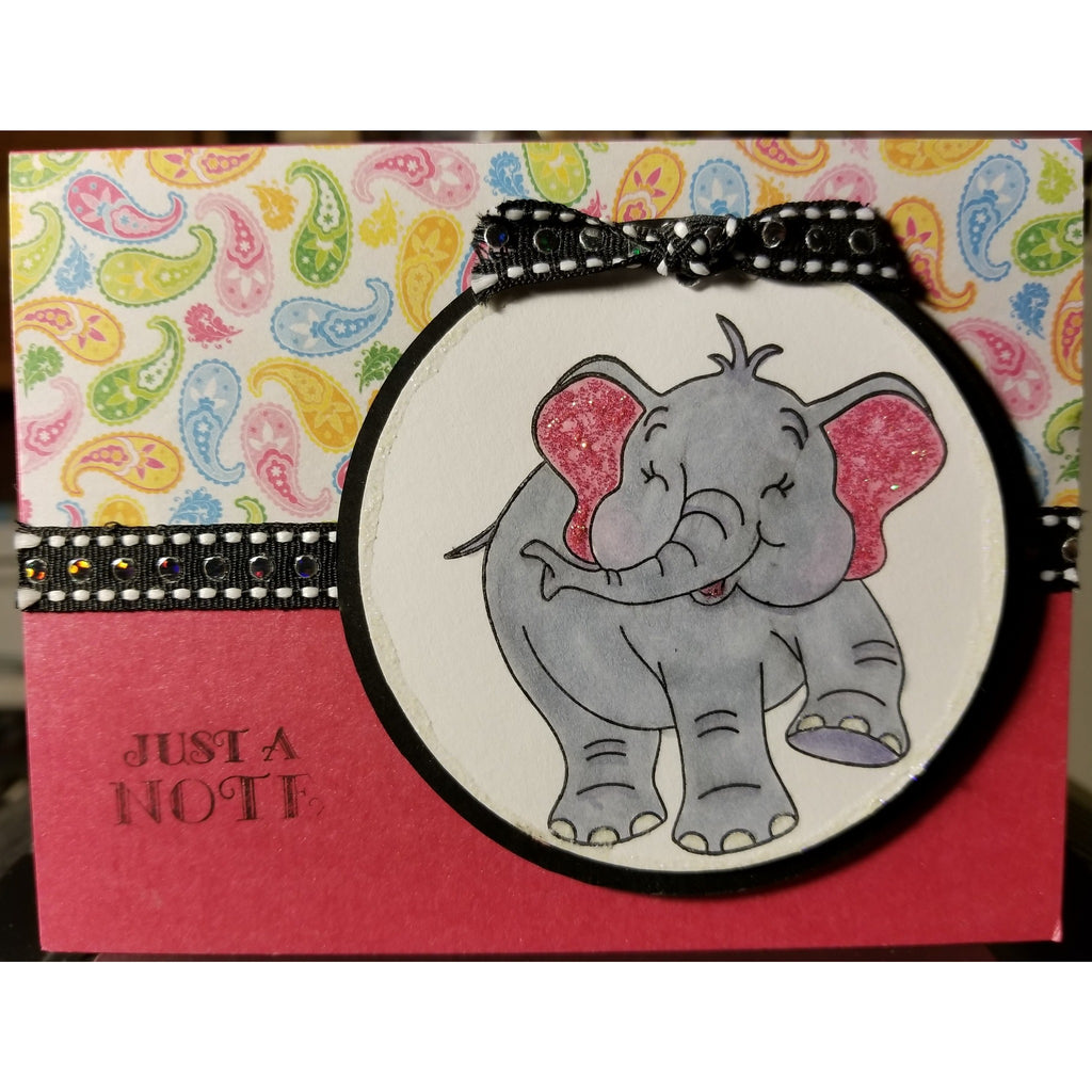 Elephant Just A Note Handmade Good Greeting Supply Card CLEARANCE