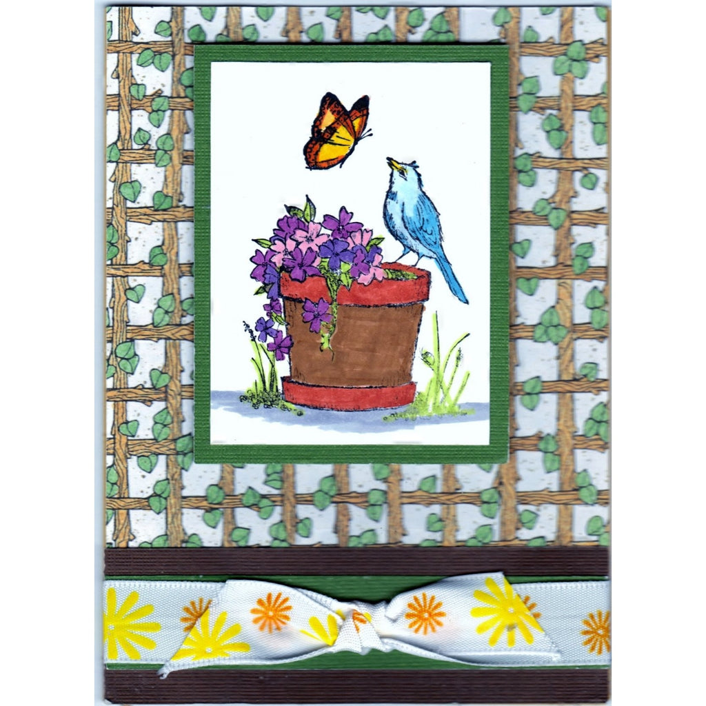 Flower Bird Butterfly Handmade Good Greeting Supply Card - Cards And Other Paper Products - Made In U.S.A. - SharPharMade - 1