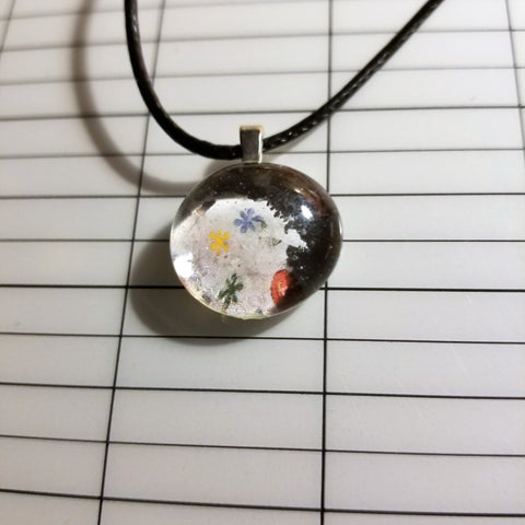 Flowery Collage - Handmade Good Flat Back Glass Marble Necklace 💋