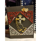 Folding Hands Cross Handmade Good Greeting Supply Card  💋