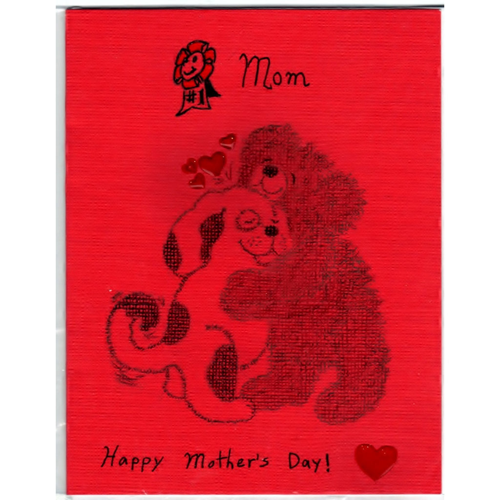 Mothers Day Handmade Hugging Dog and Bear Good Greeting Supply Card - Cards And Other Paper Products - Made In U.S.A. - SharPharMade - 1