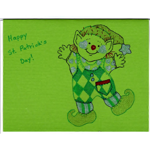 Dancing Leprechaun - A - Handmade Good Greeting Supply Card - Cards And Other Paper Products - Made In U.S.A. - SharPharMade - 1