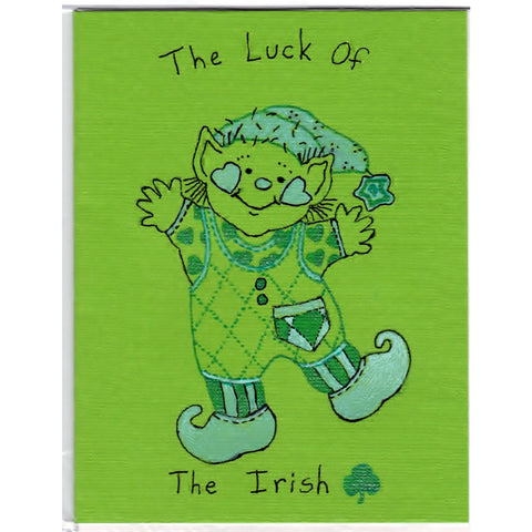 Dancing Leprechaun - C - Handmade Good Greeting Supply Card - Cards And Other Paper Products - Made In U.S.A. - SharPharMade - 1