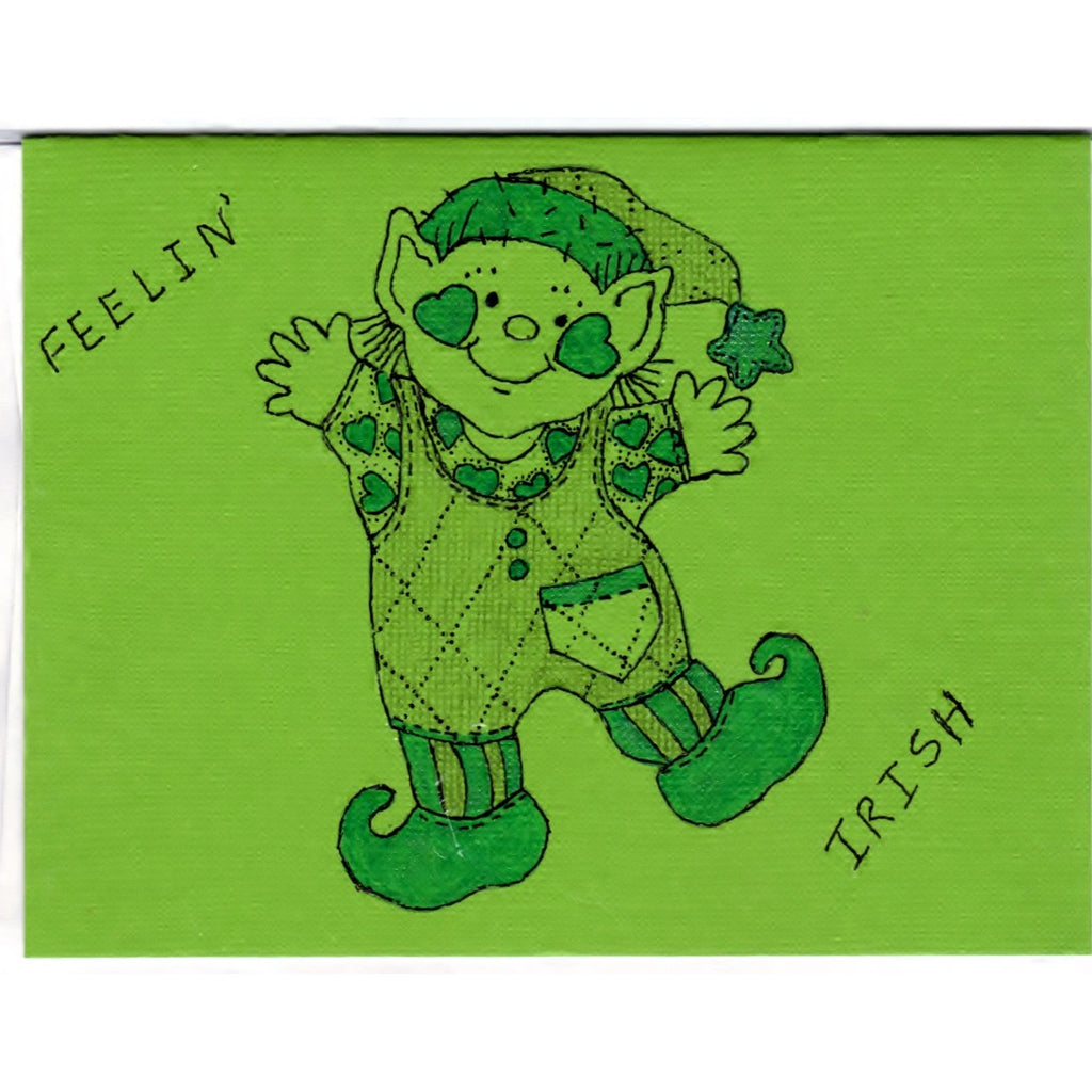 Dancing Leprechaun - D - Handmade Good Greeting Supply Card - Cards And Other Paper Products - Made In U.S.A. - SharPharMade - 1