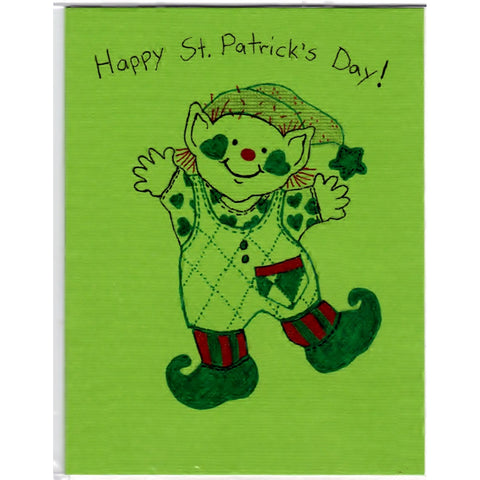 Dancing Leprechaun - B - Handmade Good Greeting Supply Card - Cards And Other Paper Products - Made In U.S.A. - SharPharMade - 1