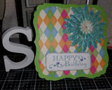 Happy Birthday Floral Diamond Handmade Good Greeting Supply Card CLEARANCE
