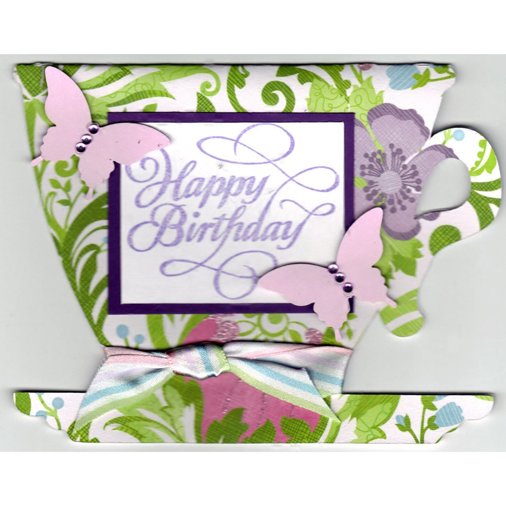 Happy Birthday Tea Cup Shaped Handmade Good Greeting Supply Card - Cards And Other Paper Products - Made In U.S.A. - SharPharMade - 1