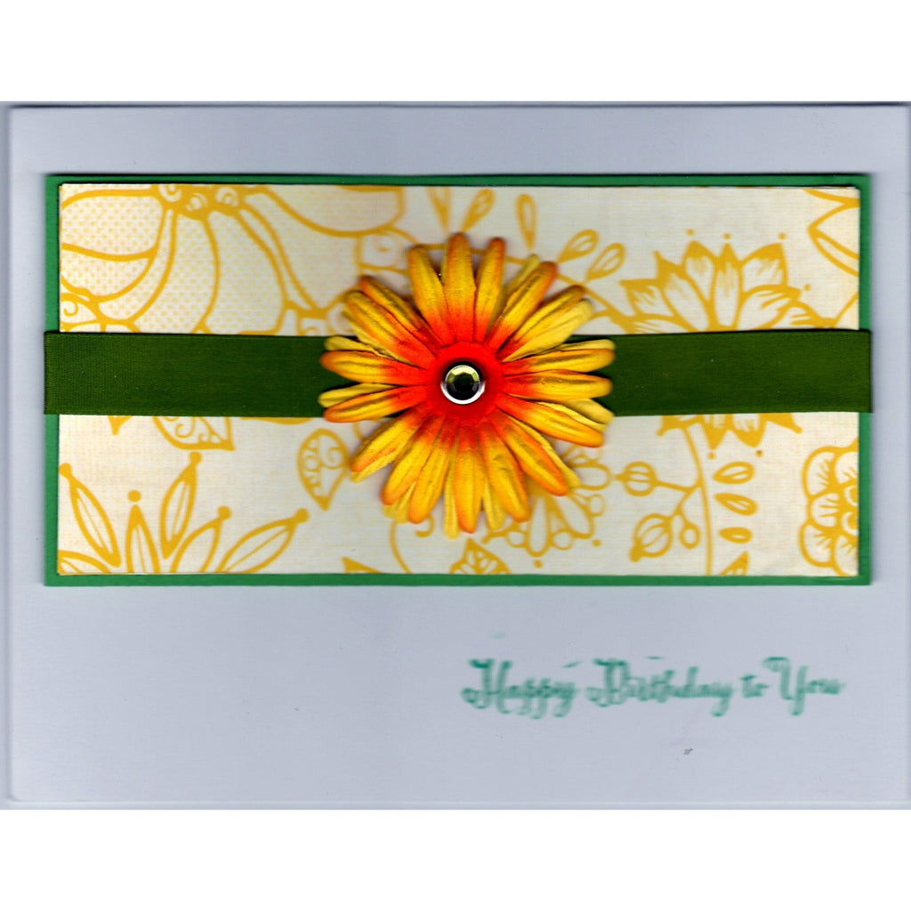 Happy Birthday Yellow Daisy Handmade Good Greeting Supply Card - Cards And Other Paper Products - Made In U.S.A. - SharPharMade - 1