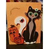 Halloween Pumpkins Spider Cat Handmade Good Greeting Supply Card 💋