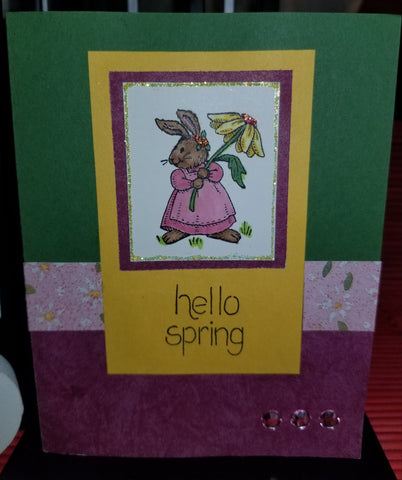 Hello Spring Rabbit Handmade Good Greeting Supply Card CLEARANCE