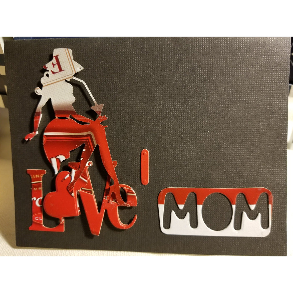 I Love Mom Handmade Good Greeting Supply Card  💋