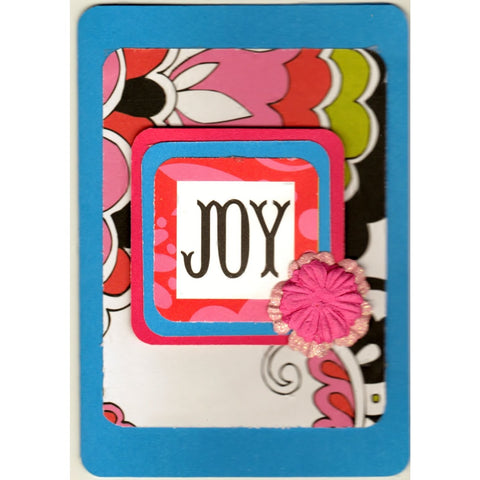Joy Blue Flowery Handmade Good Greeting Supply Card - Cards And Other Paper Products - Made In U.S.A. - SharPharMade - 1