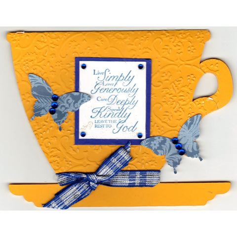 Live Simply Love Tea Cup Shaped Handmade Good Greeting Supply Card - Cards And Other Paper Products - Made In U.S.A. - SharPharMade - 1