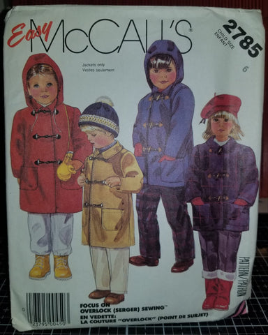McCall's 2785 Pattern Vintage Children Unlined Coat And Detachable Hood