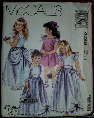 McCalls 4129 Pattern Vintage Children And Girl Gown Or Dress
