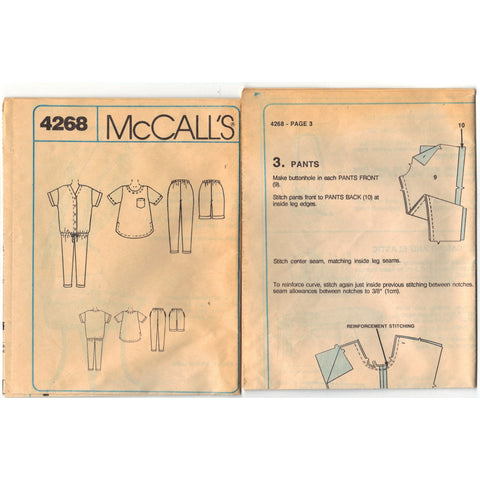 McCalls 4268 Pattern Vintage Maternity Jumpsuit, Top, Pants and Shorts