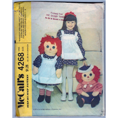 McCalls 4268 Pattern Vintage Raggedy Ann and Andy 36 Inch Dolls Craft Tool