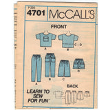 McCalls 4701 Pattern Vintage Boy and Girl Tops, Pants, and Shorts