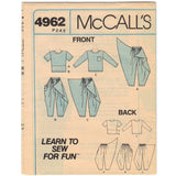 McCalls 4962 Pattern Vintage Girl Top and Pants
