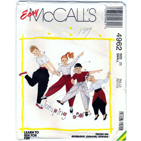 McCalls 4962 Pattern Non-Vin Girl Top and Pants