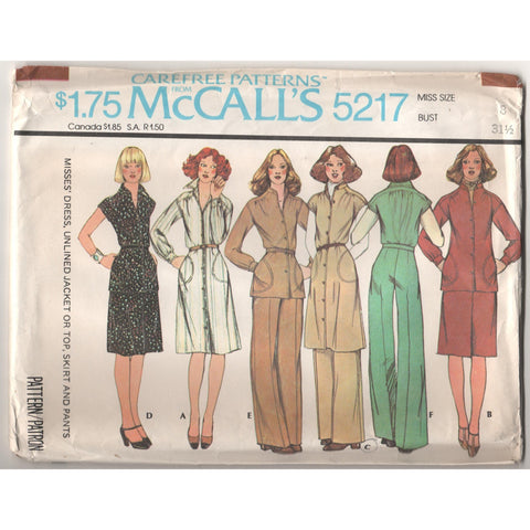 McCalls 5217 Pattern Vintage Misses Dress, Unlined Jacket or top, Skirt and Pants