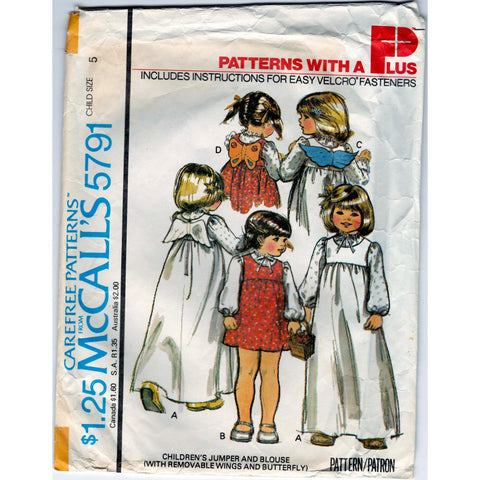McCalls 5791 Pattern Vintage Children Jumper And Blouse - Costume Able