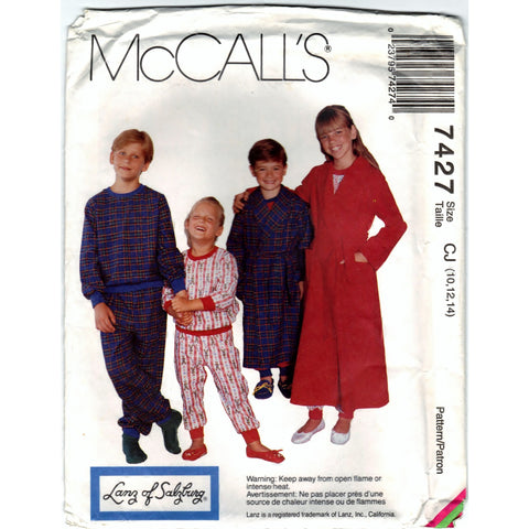 McCalls 7427 Pattern Non-Vin Children Boy and Girl Robe, Pajama Top and Pajama Pants