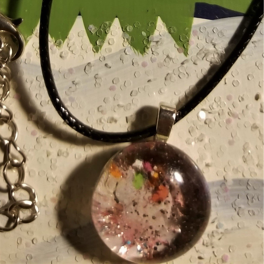 Modge Podge Of Colors And Glitter - Handmade Good Flat Back Glass Marble Necklace 💋