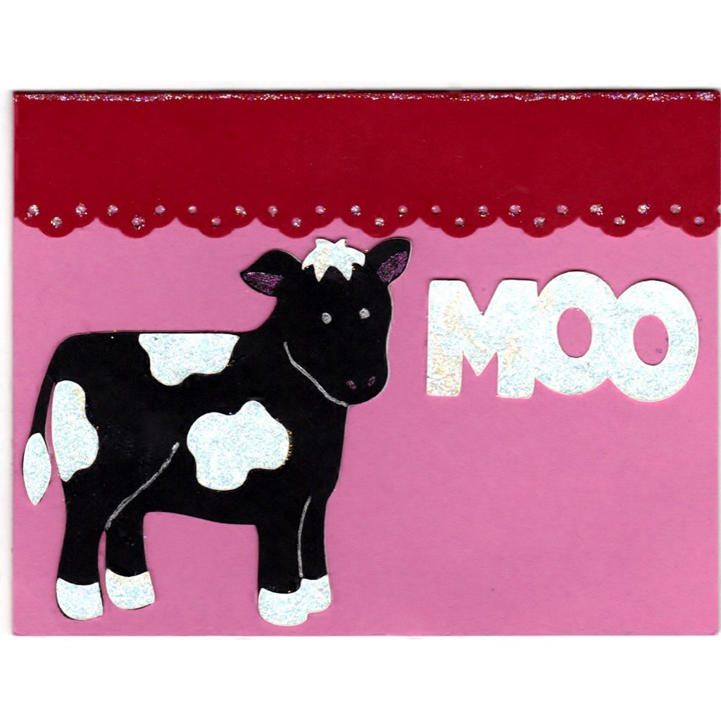Moo Sparkle Cow Handmade Good Greeting Supply Card - Cards And Other Paper Products - Made In U.S.A. - SharPharMade - 1