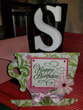 Happy Birthday Pink Green Floral Tea Cup Shaped Handmade Good Greeting Supply Card CLEARANCE