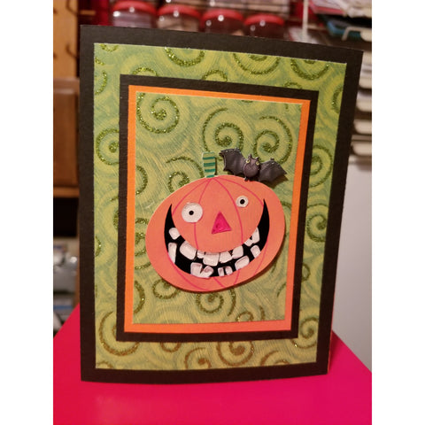 Halloween Pumpkin Bat Handmade Good Greeting Supply Card