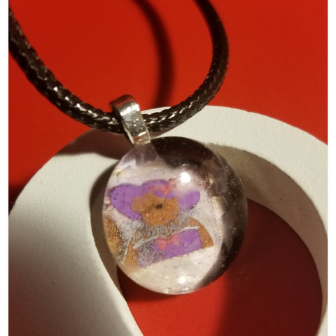 Purple Hat Bear Handmade Good Flat Back Glass Marble Necklace 💋