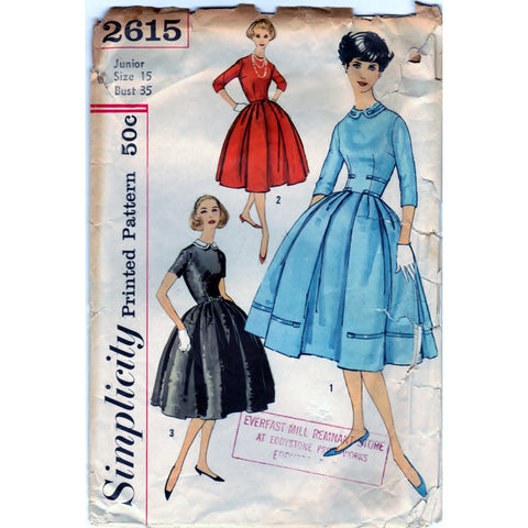 Simplicity 2615 Pattern Vintage Jr. Misses And Misses One-Piece Dress With Detachable Collar