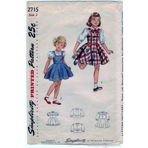 Simplicity 2715 Pattern Vintage Child Jumper and Blouse