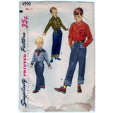 Simplicity 4990 Pattern Vintage Boy Western Shirt And Pants, Transfer Included