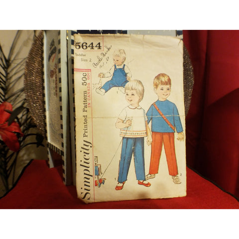 Simplicity 5644 Pattern Vintage Toddlers Overalls And Top