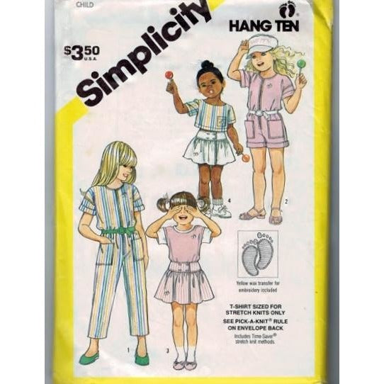 Simplicity 6349 Pattern Vintage Childs Jumpsuit, Skirt, Pullover Top And T-Shirt