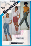 Simplicity Vintage Pattern 6396 Misses Pull-On Pants In Two Lengths And Shorts