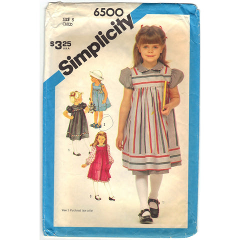 Simplicity 6500 Pattern Vintage Child Dress And Sundress Or Jumper