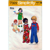 Simplicity 7322 Pattern Vintage Toddler's Jumpsuit Shirt