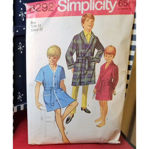 Simplicity 8292 Pattern Vintage Boy Robes