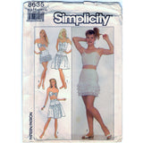 Simplicity 8635 Pattern Vintage Misses Skirts And Lined Camisole And Bra