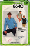 Simplicity 8640 Pattern Sewing Vintage Men Pullover Top And Vest