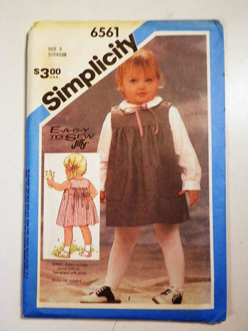 Simplicity 6561 Pattern Vintage Toddlers Sundress and Jumper