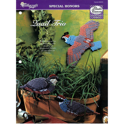 Plastic Canvas Non-Vin Pattern Craft Tool Leisure Arts Leaflet Quail Trio