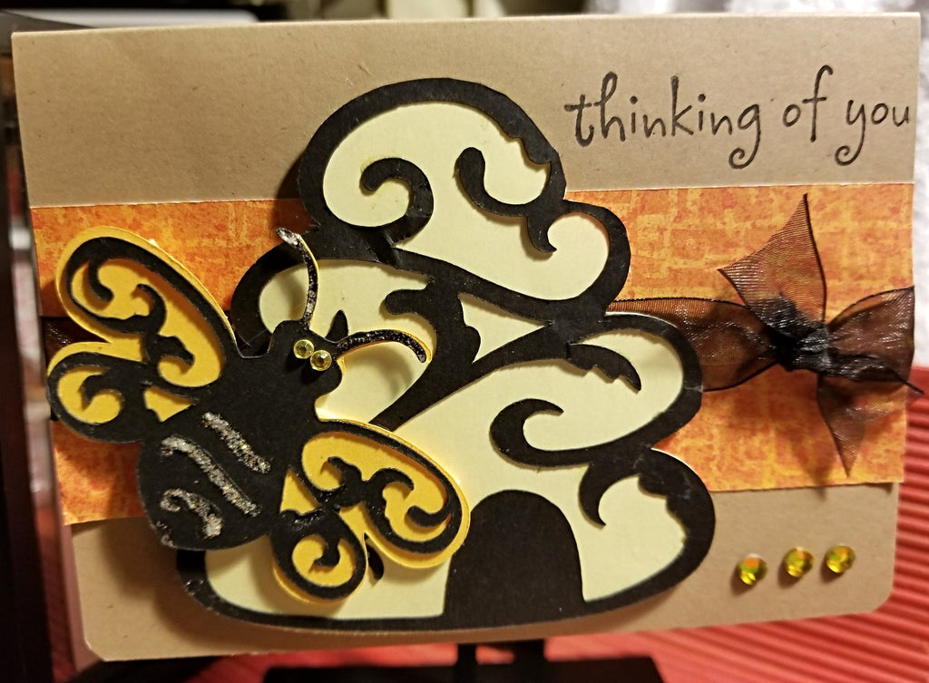 Thinking Of You Bee Handmade Good Greeting Supply Card CLEARANCE