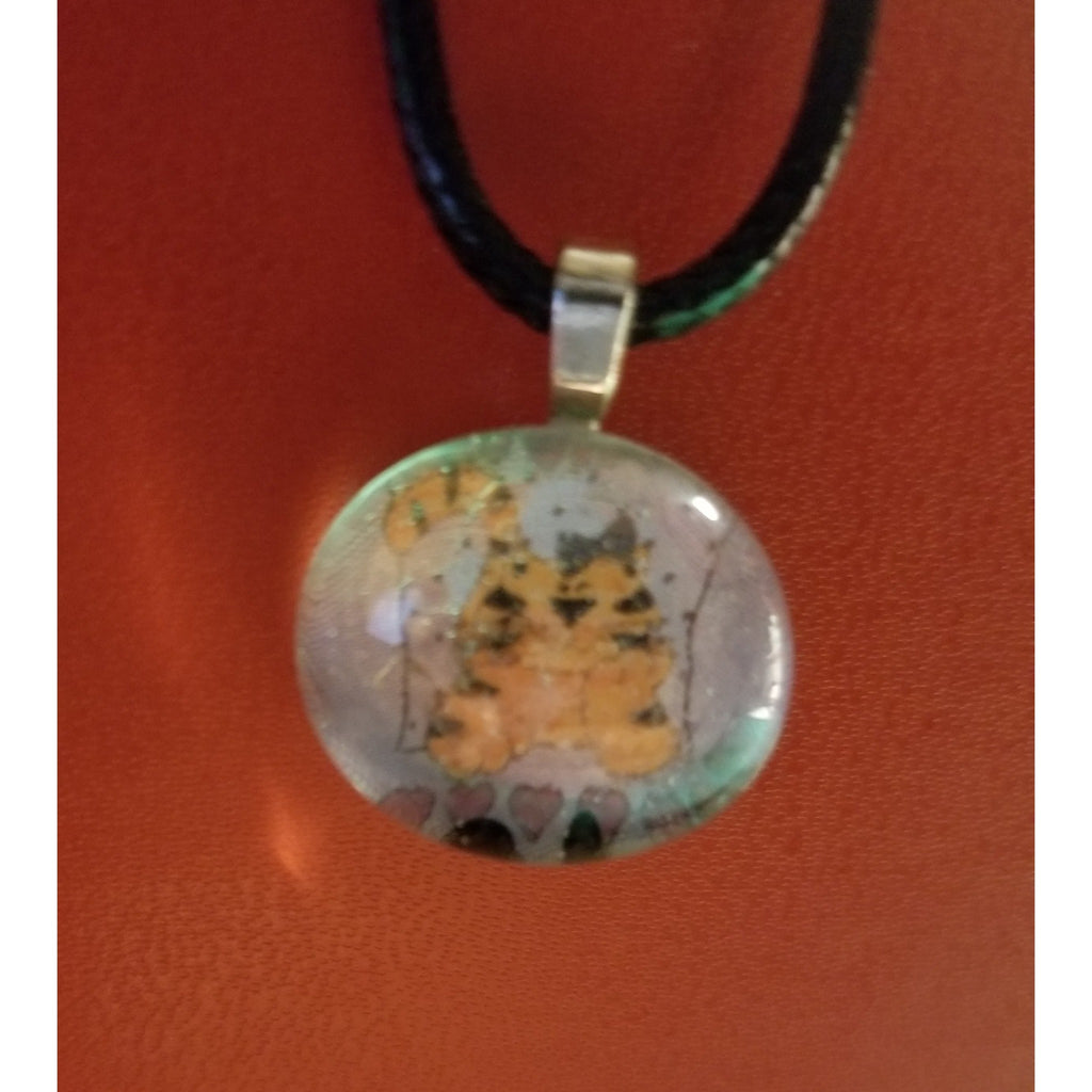 Tiger Or Tigress Love Handmade Good Flat Back Glass Marble Necklace 💋